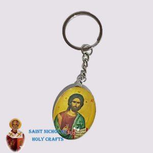Olive-Wood-Saint-Nicholas-Holy-Crafts-Olive-Wood-2-Sided-Key-Chain