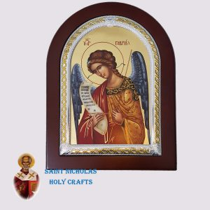 Olive-Wood-Saint-Nicholas-Holy-Crafts-Olive-Wood-Archangel-Gabriel-Frame-Nikolaus-Silver-Icon