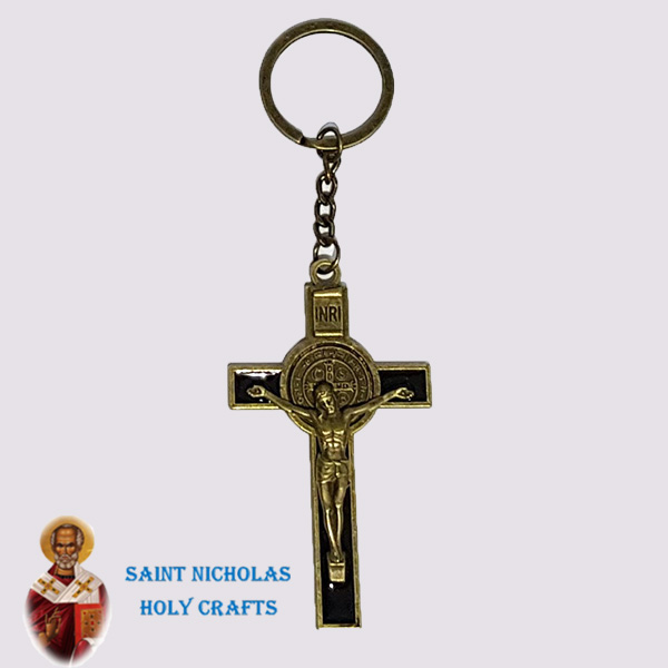 Olive-Wood-Saint-Nicholas-Holy-Crafts-Olive-Wood-Benedict-Cross-Key-Chain