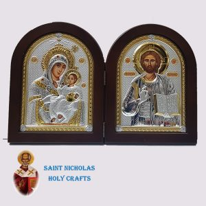 Olive-Wood-Saint-Nicholas-Holy-Crafts-Olive-Wood-Bethlehem-Diptec-Nikolaus-Silver-Icon