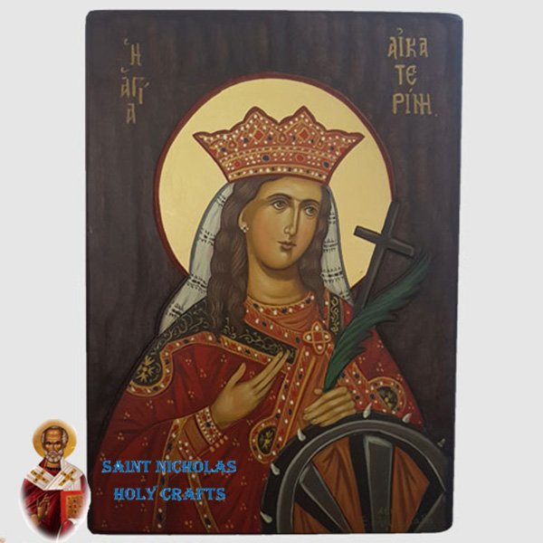 Olive-Wood-Saint-Nicholas-Holy-Crafts-Olive-Wood-Cathrine-Hand-Painted-Icon