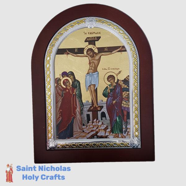 Olive-Wood-Saint-Nicholas-Holy-Crafts-Olive-Wood-Crucifixion-Frame-Nikolaus-Silver-Icon
