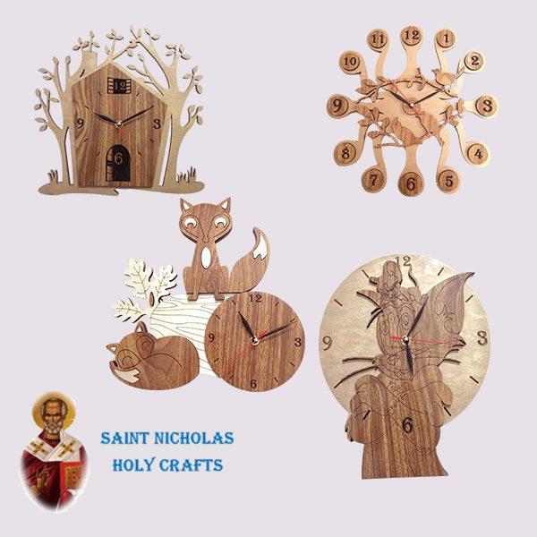 Olive-Wood-Saint-Nicholas-Holy-Crafts-Olive-Wood-Decorated-Wall-Clock