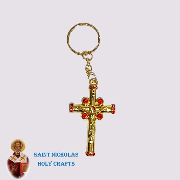 Olive-Wood-Saint-Nicholas-Holy-Crafts-Olive-Wood-Golden-Cross-Key-Chain