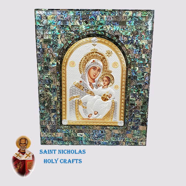 Olive-Wood-Saint-Nicholas-Holy-Crafts-Olive-Wood-Green-Mother-Of-Pearl-Silver-Icon