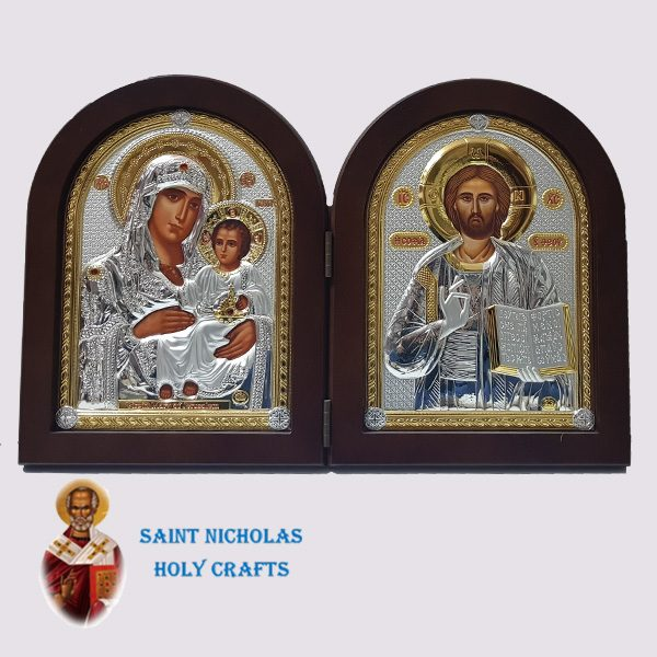 Olive-Wood-Saint-Nicholas-Holy-Crafts-Olive-Wood-Jerusalem-Diptec-Nikolaus-Silver-Icon