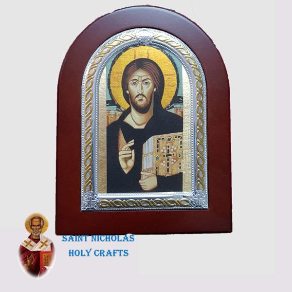 Olive-Wood-Saint-Nicholas-Holy-Crafts-Olive-Wood-Jesus-Of-Sinai-Frame-Nikolaus-Silver-Icon