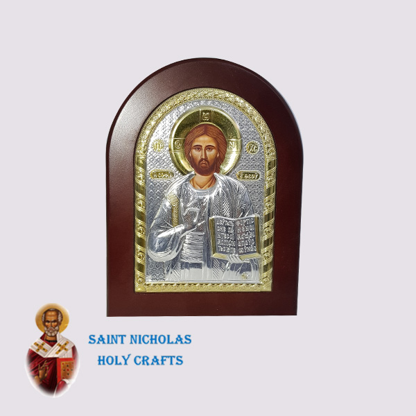 Olive-Wood-Saint-Nicholas-Holy-Crafts-Olive-Wood-Jesus-Silver-Andreas-Icon