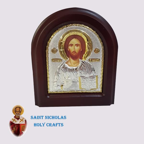 Olive-Wood-Saint-Nicholas-Holy-Crafts-Olive-Wood-Jesus-Silver-Angel-Icon