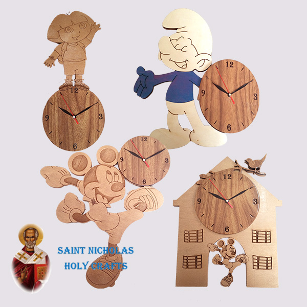 Olive-Wood-Saint-Nicholas-Holy-Crafts-Olive-Wood-Kids-Wall-Clock