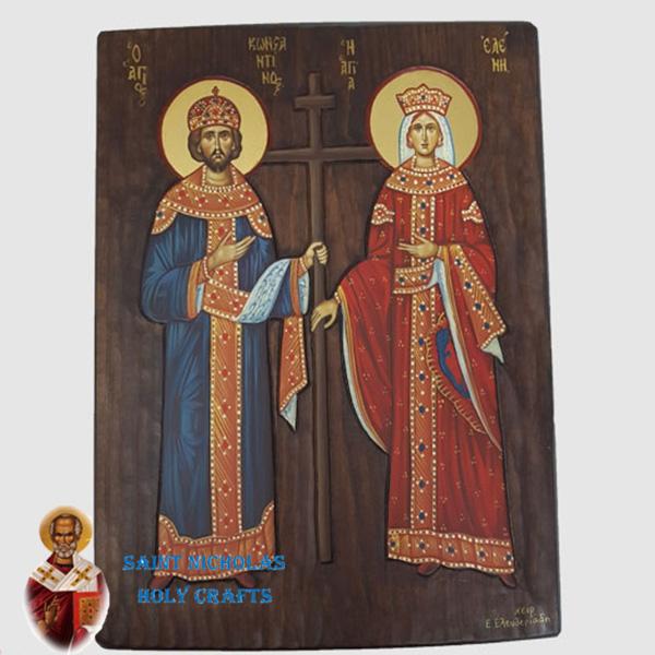 Olive-Wood-Saint-Nicholas-Holy-Crafts-Olive-Wood-Konstantine-&-Helen-Hand-Painted-Icon