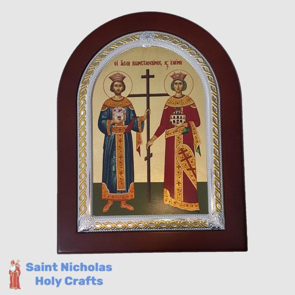 Olive-Wood-Saint-Nicholas-Holy-Crafts-Olive-Wood-Konstantinos-&-Helen-Frame-Nikolaus-Silver-Icon