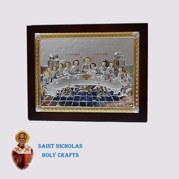 Olive-Wood-Saint-Nicholas-Holy-Crafts-Olive-Wood-Last-Supper.-Nikolaus-Silver-Icon