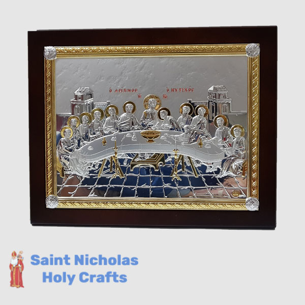 Olive-Wood-Saint-Nicholas-Holy-Crafts-Olive-Wood-Last-Supper.-Nikolaus-Silver-Icon