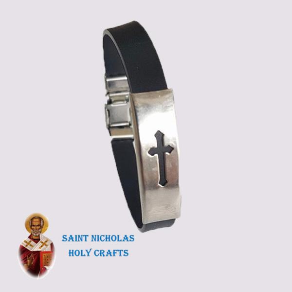 Olive-Wood-Saint-Nicholas-Holy-Crafts-Olive-Wood-Leather-Bracelet