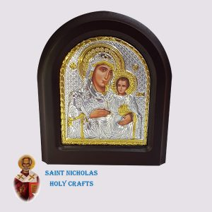 Olive-Wood-Saint-Nicholas-Holy-Crafts-Olive-Wood-Mary-Of-Jerusalem-Silver-Angel-Icon