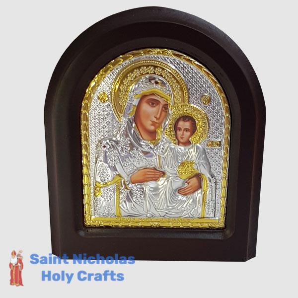 Olive-Wood-Saint-Nicholas-Holy-Crafts-Olive-Wood-Mary-Of-Jerusalem-Silver-Angel-Icon