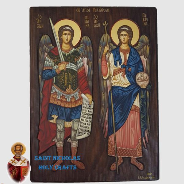 Olive-Wood-Saint-Nicholas-Holy-Crafts-Olive-Wood-Michael-&-Jabriel-Hand-Painted-Icon
