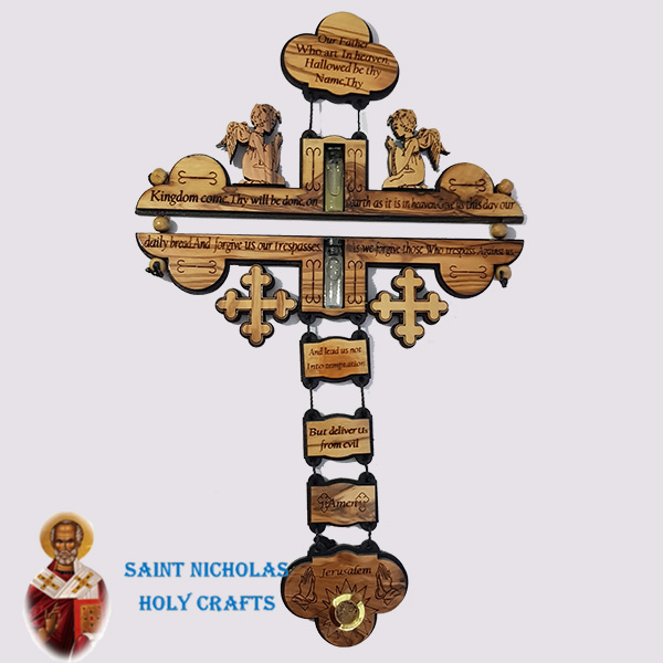 Olive-Wood-Saint-Nicholas-Holy-Crafts-Olive-Wood-Olive-Wood-Our-Father-Cross-With-2-Bottles
