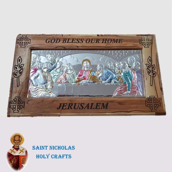 Olive-Wood-Saint-Nicholas-Holy-Crafts-Olive-Wood-Olive-Wood-Silver-Last-Supper-Board