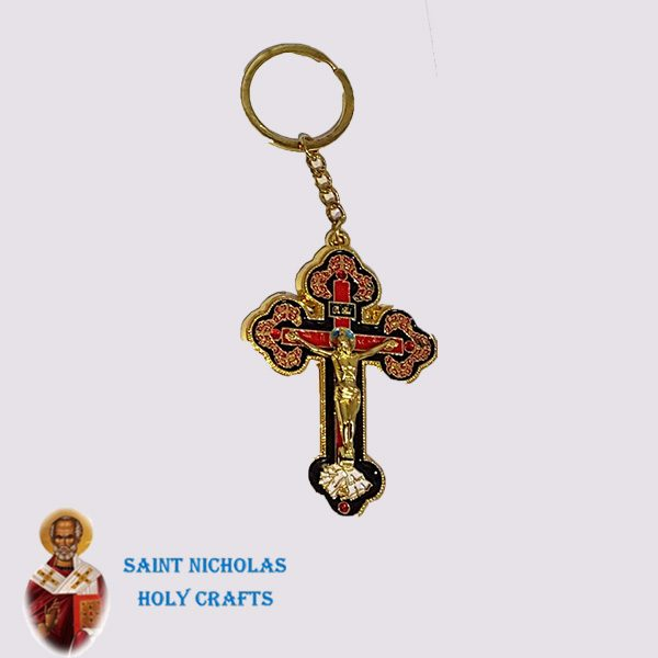 Olive-Wood-Saint-Nicholas-Holy-Crafts-Olive-Wood-Orthodox-Cross-Key-Chain