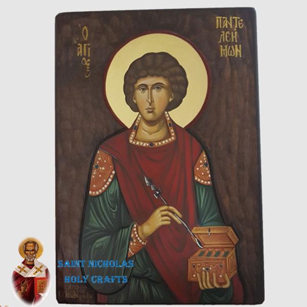 Olive-Wood-Saint-Nicholas-Holy-Crafts-Olive-Wood-Pantalemon-Hand-Painted-Icon