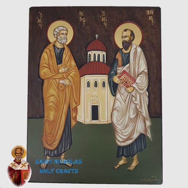 Olive-Wood-Saint-Nicholas-Holy-Crafts-Olive-Wood-Paul-&Peter-Hand-Painted-Icon