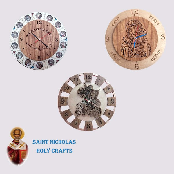 Olive-Wood-Saint-Nicholas-Holy-Crafts-Olive-Wood-Rounded-Wall-Clock