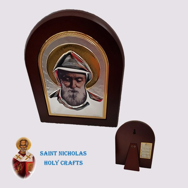 Olive-Wood-Saint-Nicholas-Holy-Crafts-Olive-Wood-Saint-Charbel-Nikolaus-Silver-Icon