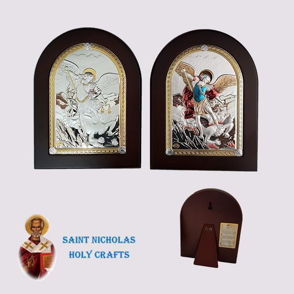 Olive-Wood-Saint-Nicholas-Holy-Crafts-Olive-Wood-Saint-Micheal-Nikolaus-Silver-Icon