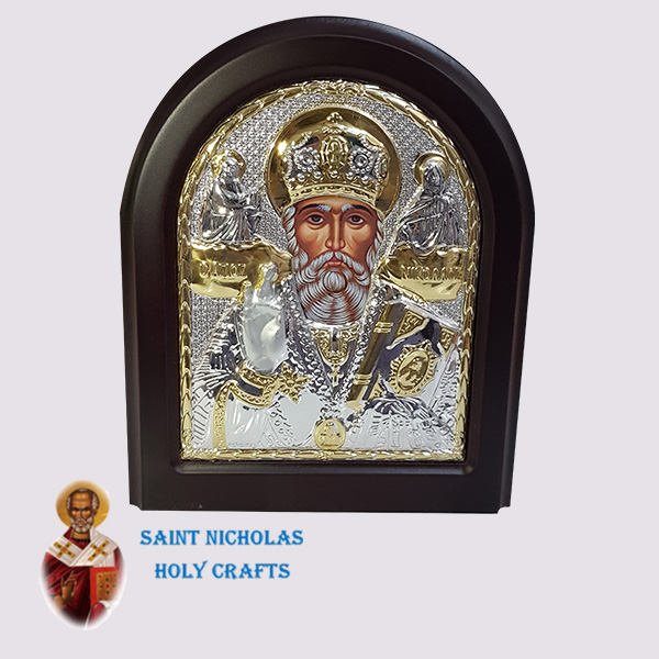 Olive-Wood-Saint-Nicholas-Holy-Crafts-Olive-Wood-Saint-Nicholas-Silver-Angel-Icon
