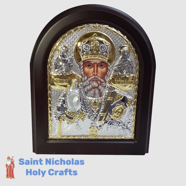 Olive-Wood-Saint-Nicholas-Holy-Crafts-Olive-Wood-Saint-Nicholas-Silver-Angel-Icon