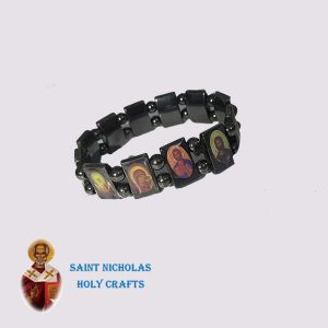 Olive-Wood-Saint-Nicholas-Holy-Crafts-Olive-Wood-Saints-Hematite-Bracelet