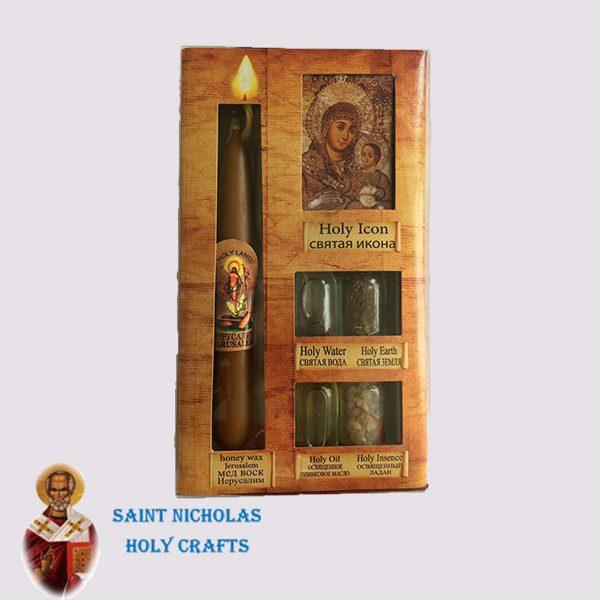 Olive-Wood-Saint-Nicholas-Holy-Crafts-Olive-Wood-Set-Of-4-Bottles-With-Icon-and-Honey-Candle
