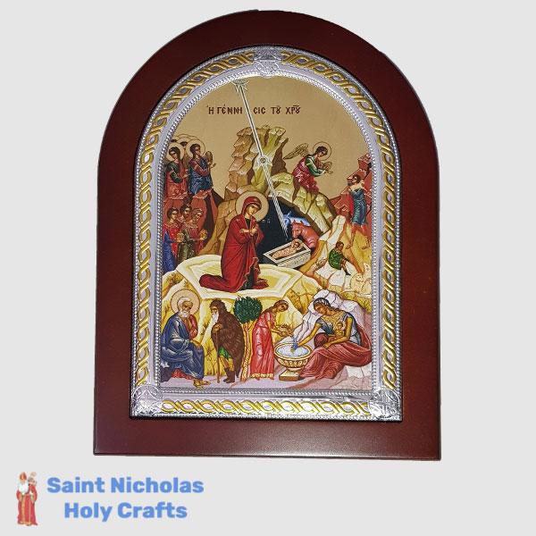 Olive-Wood-Saint-Nicholas-Holy-Crafts-Olive-Wood-The-Birth-Frame-Nikolaus-Silver-Icon