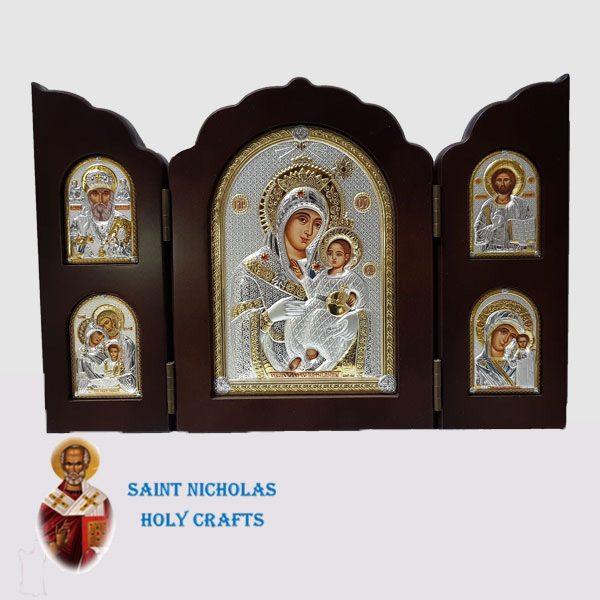 Olive-Wood-Saint-Nicholas-Holy-Crafts-Olive-Wood-Triptec-Bethlehem-Nikolaus-Silver-Icon