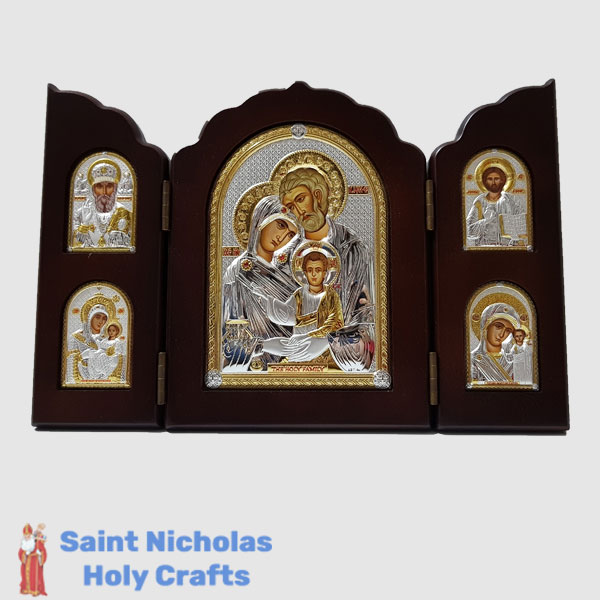 Olive-Wood-Saint-Nicholas-Holy-Crafts-Olive-Wood-Triptec-Holy-Family-Nikolaus-Silver-Icon