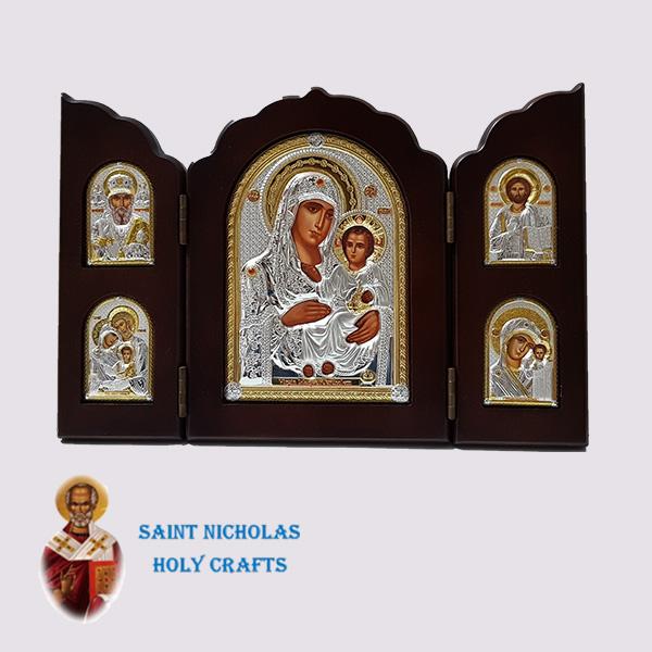 Olive-Wood-Saint-Nicholas-Holy-Crafts-Olive-Wood-Triptec-Jerusalem-Nikolaus-Silver-Icon
