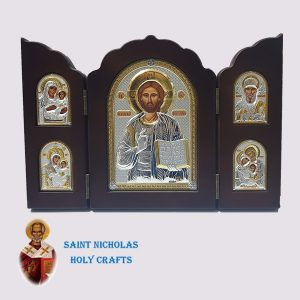 Olive-Wood-Saint-Nicholas-Holy-Crafts-Olive-Wood-Triptec-Jesus-Nikolaus-Silver-Icon
