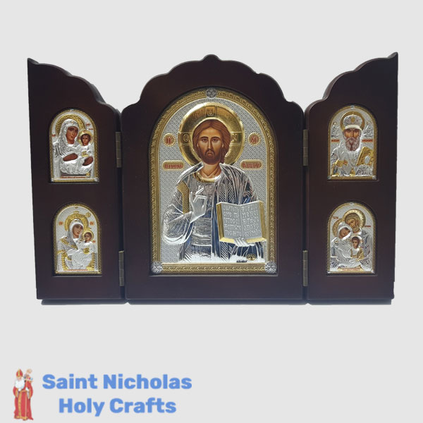 Olive-Wood-Saint-Nicholas-Holy-Crafts-Olive-Wood-Triptec-Jesus-Nikolaus-Silver-Icon