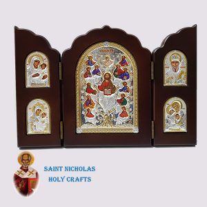 Olive-Wood-Saint-Nicholas-Holy-Crafts-Olive-Wood-Triptec-Tree-Nikolaus-Silver-Icon