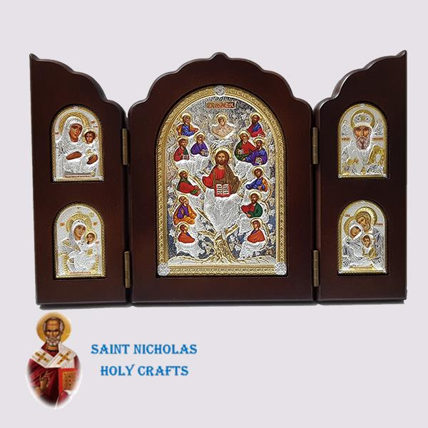 Olive-Wood-Saint-Nicholas-Holy-Crafts-Olive-Wood-Triptec-Tree-Nikolaus-Silver-Icon