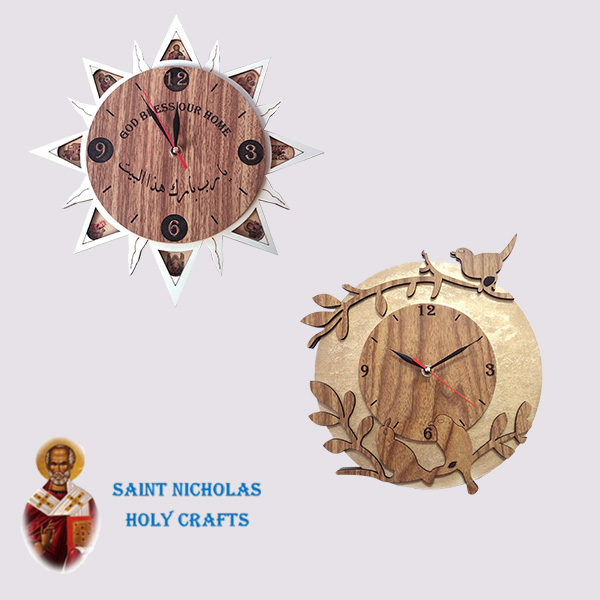 Olive-Wood-Saint-Nicholas-Holy-Crafts-Olive-Wood-Wall-Clock