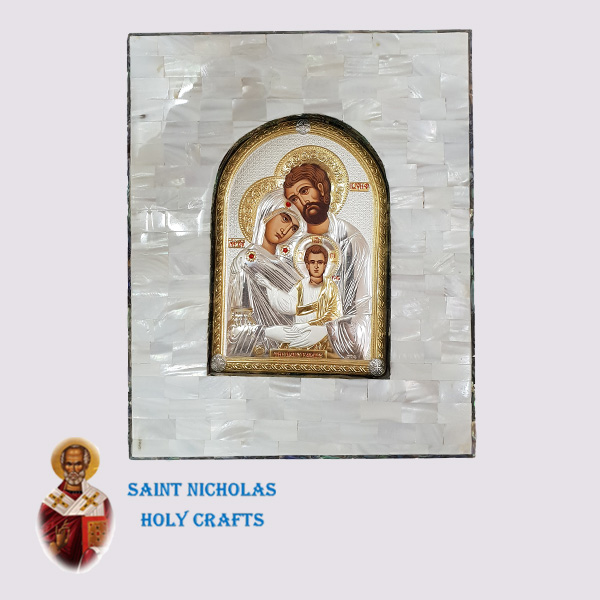 Olive-Wood-Saint-Nicholas-Holy-Crafts-White-&-Green-Mother-Of-Pearl-Silver-Icon