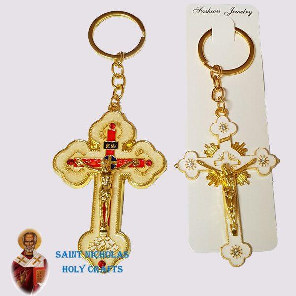 Olive-Wood-Saint-Nicholas-Holy-Crafts-Enamel-Cross-Key-Chain