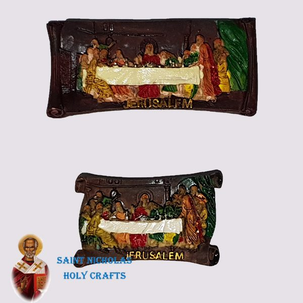 Olive-Wood-Saint-Nicholas-Holy-Crafts-Last-Supper-Ceramic-Magnet