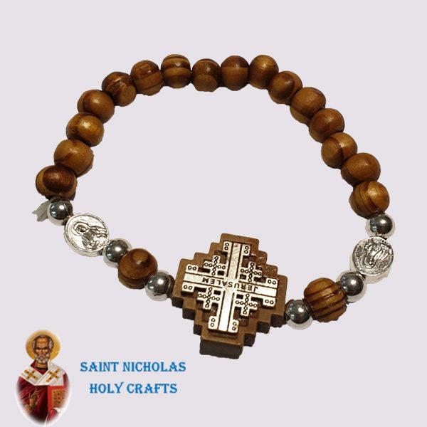 Olive-Wood-Saint-Nicholas-Holy-Crafts-Wood-Bracelet-With-Pearl