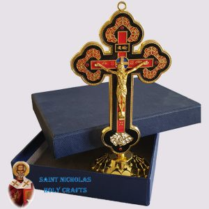 Olive-Wood-Saint-Nicholas-Holy-Crafts-Stand-Metal-Cross