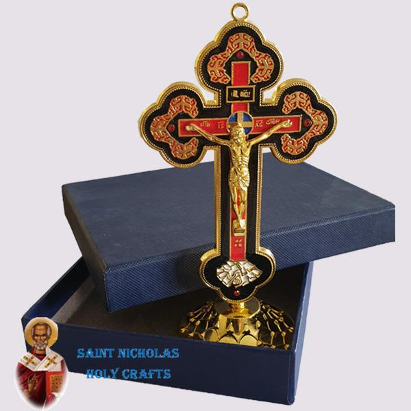 Olive-Wood-Saint-Nicholas-Holy-Crafts-Stand-Metal-Cross