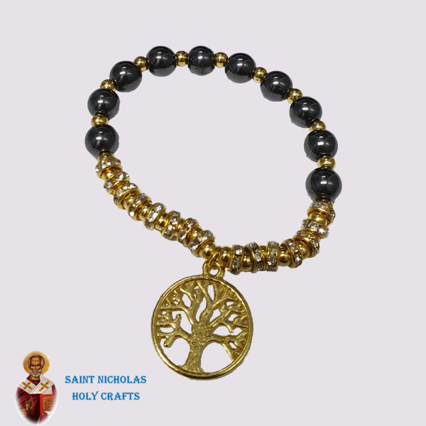 Olive-Wood-Saint-Nicholas-Holy-Crafts-Wood-Hematite-Bracelet-With-Pendants